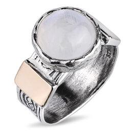 Кольца и перстни - Серебряное кольцо с лунным камнем и золотом, 0