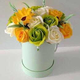 Цветы, букеты, композиции - Букет из мыльных роз и подсолнуха, 0