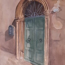 Картины, постеры, гобелены, панно - Картина акварелью Дверь, 0