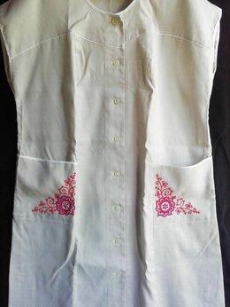 Платья - Льняное платье-халат с вышивкой СССР р.60-62, 0