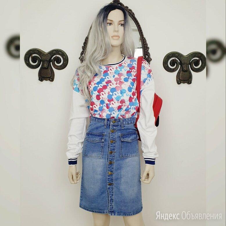 Длинная джинсовая юбка с пуговицами по цене 499₽ - Юбки, фото 0