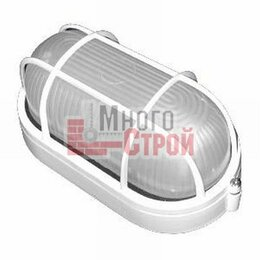 Люстры и потолочные светильники - Светильник НПП 1402 белый овал с решеткой 60Вт IP54 IEK, 0