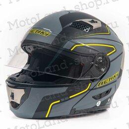 Мотоэкипировка - Шлем мото NENKI (Ненки) 860 (XL) #1 black/yellow, 0