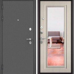 Входные двери - Дверь мет Бульдорс «Зеркало» MASS90 Букле-графит/Дуб белый матовый Пр/2050*960, 0