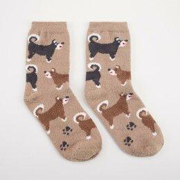 Домашняя одежда - Носки женские махра-пенка «Собаки» цвет коричневый, р-р 23-25 (р-р обуви 36-40), 0