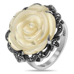 Кольца и перстни - Серебряное кольцо с перламутром и марказитами…, 0