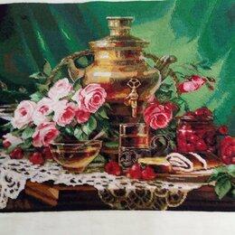 """Картины, постеры, гобелены, панно - Вышитая счетным крестом картина """"Чай с лимоном"""", 0"""
