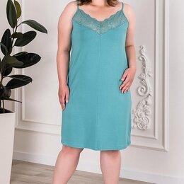 Домашняя одежда - Сорочка женская вискозная пепельная мята, на тонких бретелях , 0