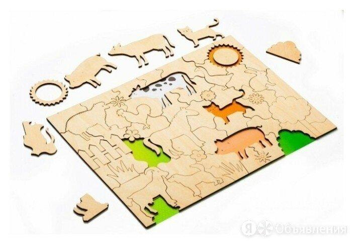 Деревянный развивающий пазл-раскраска, рамка-вкладыш для малышей «ДОМАШНИЕ ЖИВОТ по цене 843₽ - Развивающие игрушки, фото 0