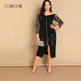 Платья - Черное вечернее платье с открытыми плечами, 0