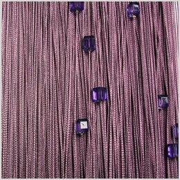 Шторы -    Нитяная штора Nitiopt однотонная с кубиками фиолетовая плотная 3х2.85м, 0