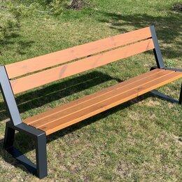 Скамейки - Скамья садово-парковая с удобной спинкой «Stone» 2000 из термососны, 0