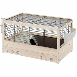 Сельскохозяйственные животные - Деревянная клетка для кроликов, имеющая…, 0