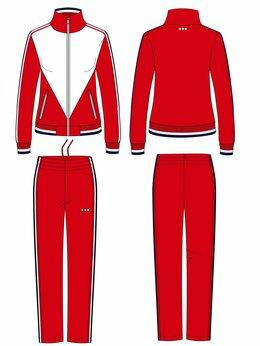 Спортивные костюмы - Женские спортивные костюмы красные из эластика…, 0