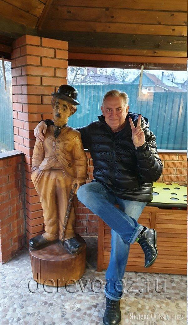 Деревянная скульптура Чарли Чаплин по цене не указана - Садовые фигуры и цветочницы, фото 0