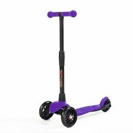 Самокаты - Детский трехколесный самокат АЛЬФА фиолетовый, светящиеся колёса, 0