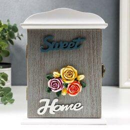 """Настенные ключницы и шкафчики - Ключница дерево 2 крючка """"Три розы - Sweet home"""" 20,5х6х15 см, 0"""