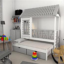 Кровати - Кровать-домик ЛегкоМаркет Грэй-1, 0