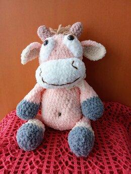Мягкие игрушки - Вязаный бычок амигуруми,рост 28 см, 0