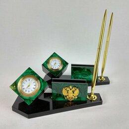 Подарочные наборы - Письменный настольный набор мини малахит, долерит, 0
