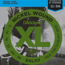 Струны - D'Addario EXL117 набор струн для 6-струнной электрогитары, размер 11-56, 0
