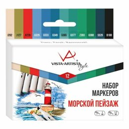 Рукоделие, поделки и сопутствующие товары - Набор маркеров для творчества Vista-Artista «Style» 12цв., пулевидный/скошенный,, 0