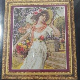 Рукоделие, поделки и сопутствующие товары - Новый набор для вышивания Девушка с корзиной цветов, 0