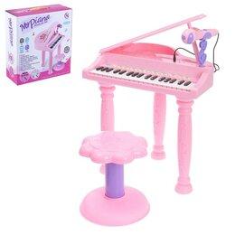 Детские музыкальные инструменты - Пианино «Розовая мечта» с микрофоном и стульчиком, световые и звуковые эффекты, 0
