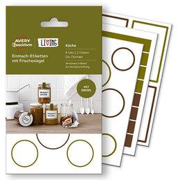 Одноразовая посуда - Набор этикеток living для банок с защитной лентой, белые (20 этикеток) {62008}, 0