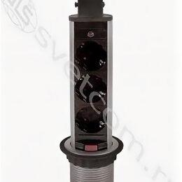 Электроустановочные изделия - Блок розеток выдвижной вертикальный, 3 розетки EURO, 1,8м, черный, D-6см, 0
