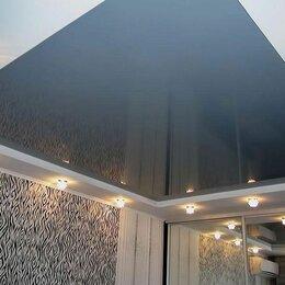 Потолки и комплектующие - Натяжной потолок глянцевый серый с установкой профилем, 0