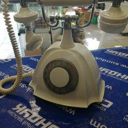 Проводные телефоны - Телефон настольный Парма белый в ретро стиле 1986, 0
