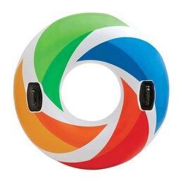 Спасательные жилеты и круги - Круг надувной Интекс цветной вихрь 122см с ручками от 9 лет 58202, 0
