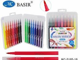 Рисование - Фломастеры 18 цв BASIR, с мягкой кистью; цветной…, 0