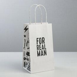 Подарочная упаковка - Пакет подарочный крафт For real men , 12 × 21 × 9 см   3823480, 0