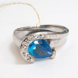 Кольца и перстни - Кольцо из белого золота с топазом и брилл, 17, 0