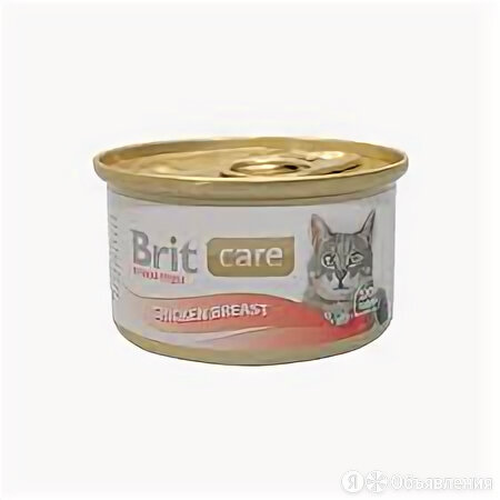 BRIT консервы д/кошек куриная грудка 80г 100064  по цене 110₽ - Корма , фото 0
