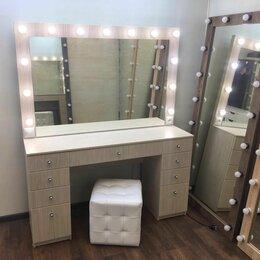 Комоды - Туалетный столик с зеркалом и лампочками цвет дуб дымчатый, 0