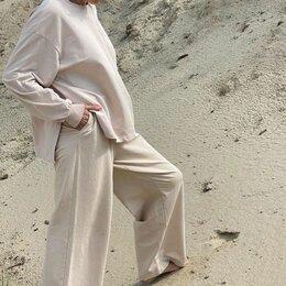 Спортивные костюмы - Костюм свитшот свободный с разрезами и брюки палаццо (хлопок 2х-нитка) (экрю), 0