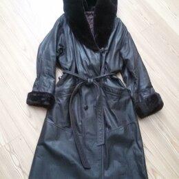 Плащи - Плащ женский с капюшоном натуральная кожа р. 48-52 Ю. Корея, 0