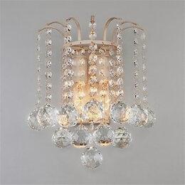 Бра и настенные светильники - Хрустальный настенный светильник 3299/2 белый с золотом/прозрачный , 0