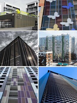 Фасадные панели - Фасад из декоративной сетки (Титан,Медь,Сталь и…, 0