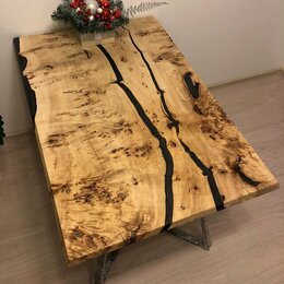 Столы и столики - Обеденный стол из слэба капового тополя, 0