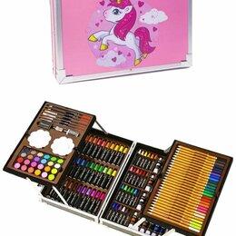 Рисование - Набор для рисования 145 предметов в металлическом чемоданчике розовый, 0