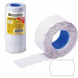 Расходные материалы - Ценники 26*12мм волна ролик. белые Brauberg, 5 рулонов по 800эт. (5), 0