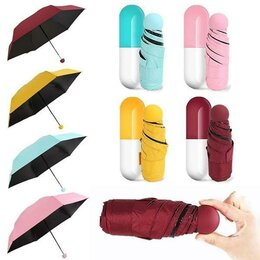 Зонты и трости - Карманный зонт в футляре Капсула, голубой, 0