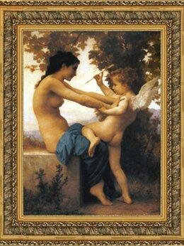 Картины, постеры, гобелены, панно - Картина шелкография «Девушка с ангелом» в рамке…, 0