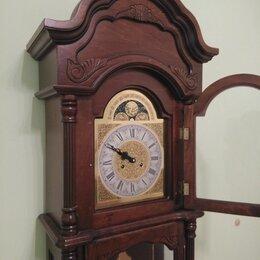 Часы напольные - Напольные часы с боем из красного дерева, 0