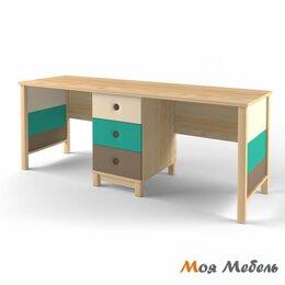 Компьютерные и письменные столы - Стол на два рабочих места аква «Робин Wood», 0