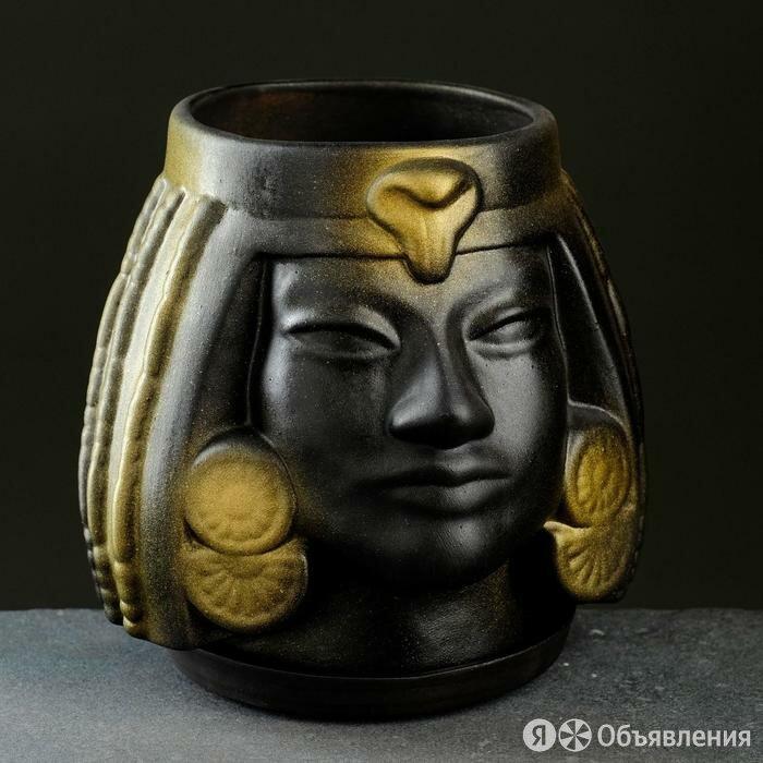 Фигурное кашпо 'Клеопатра', 16x17x16 см, черный с золотом по цене 835₽ - Горшки, подставки для цветов, фото 0